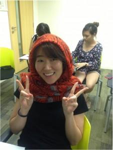 Ye Yoon wearing her thinking hood