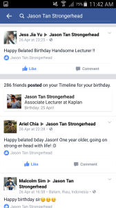 birthday wishes to Jason Tan Strongerhead lecturer